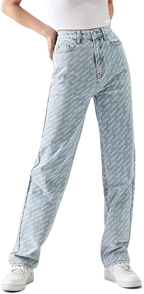 PacSun Playboy Women's Light Blue AOP '90s Boyfriend Jeans