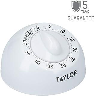 Taylor Temporizador de Cocina, Alarma Giratoria Mecánica Tradicional de Cuenta Atrás para Cocinar u Hornear, 60 Minutos, Blanco