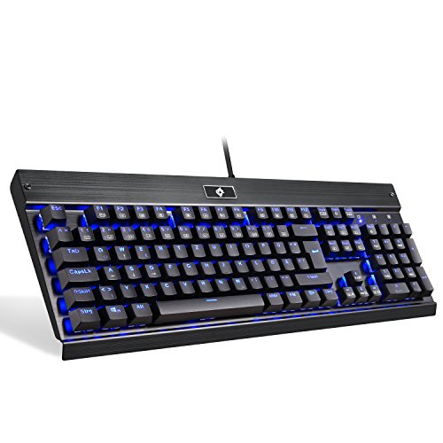 EagleTec KG010 Gaming Tastatur LED BLAU Beleuchtete Mechanische Tastatur Blaue Schalter Für PC Gamer Büro USB Kabel Gebunden 104 Tasten Ergonomisch Aluminium Design (Deutsch QWERTZ Layout)