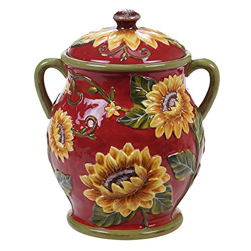 Certified International Sunset Sunflower Biscuit Jar,One Size, Multicolored
