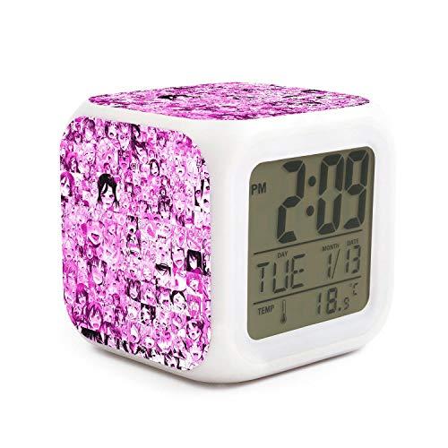 Alarm Clock Kids Wake Up Ahegao Face Anime Sex Rolling Crossed Eyes Tongue Pink Light Clock Multifunction Digital LCD Display Home Office Desk
