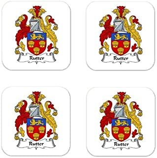 Rutter Family Crest Square Coasters Coat of Arms Coasters - Set of 4