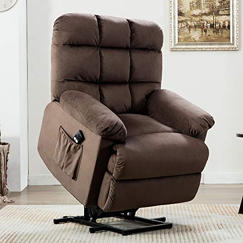 Power Lift Recliner Chair - Bonzy Home Electric Lift Recliner for Elderly and Disabled, Overstuffed Reclining Chair Living Room Cozy Single Sofa Chair with Remote Control (Chocolate)