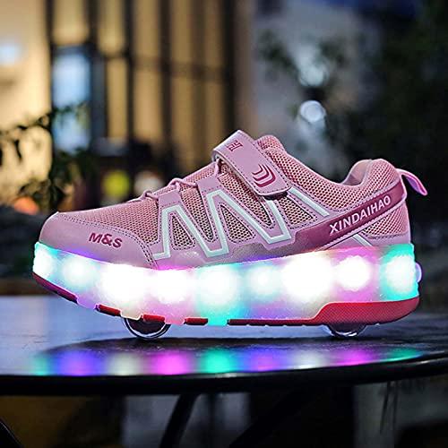 CCCYT Zapatos con Ruedas Zapatillas con Dos Ruedas para niños y niña LED Luces Zapatillas con Ruedas Se Puede Bambas con Ruedas Automática Calzado de Skateboarding