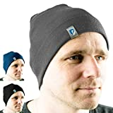 Alpin Loacker 2 Layer Bio Merino Mütze | Beanie aus 100% Merinowolle | 3 Farben zur Auswahl für Damen und Herren | Sport Kappe grau