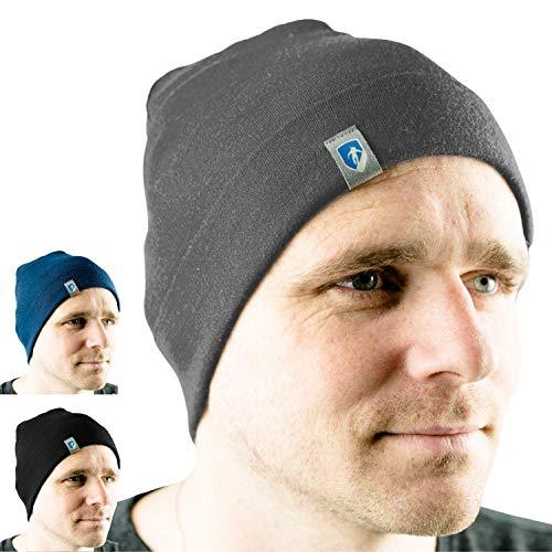 Alpin Loacker 2 Layer Bio Merino Mütze   Beanie aus 100% Merinowolle   3 Farben zur Auswahl für Damen und Herren   Sport Kappe grau