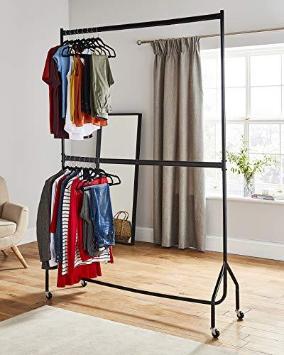 Kleiderstange/Kleiderständer, robust, zwei Stangen, Schwarz–Metall-Konstruktion (1,50mbreit x 2,10m hoch)