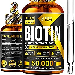 top 10 hair growth products for women Biotin liquid drop, additional strength 10,000 mcg, 60 servings, for vegans, supporting healthy hair …