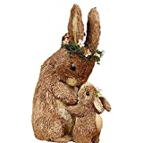 Sisal Easter Figurine Bunny Standing Rabbit Party Home Table Decoration Cute Ornaments Parent Baby Bunny Hug (Gray Set, One Size)
