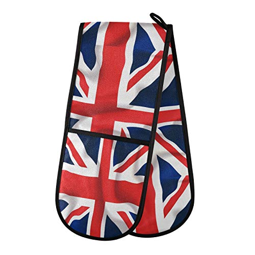 AUUXVA BETTKEN Double Gloves Mitts British Union Jack Flag Pattern Heat Resistant Oven Mitt Glove for Handling Hot Pots Pans Cooking Baking Grilling BBQ Kitchen
