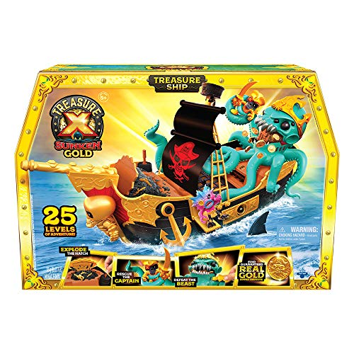 Treasure X Sunken Gold Treasure Ship Playset - 25 Levels of Adventure | Find Guaranteed Real Gold Dipped Treasure | Interactive Fun for All, Treasure Hunter