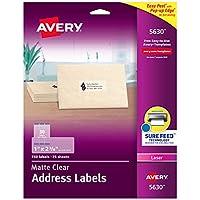 Avery マットつや消しクリアアドレスラベル レーザープリンター用 3,750 Labels