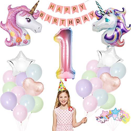 Einhorn Geburtstagsdeko,Einhorn Party Dekorationen Supplies, Einhorn Party Mädchen Geburtstagsdeko Luftballons,Deko zum Geburtstag,Luftballon 1. Geburtstag
