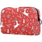 Bolsa de maquillaje con diseño de reno, color rojo