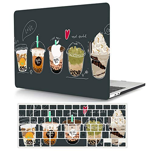 AJYX MacBook Air 13 Inch Case A1466 / A1369 Older Version 2010-2017 Release, Plastic Pattern Hard Shell Case Cover with Keyboard Cover for Laptop Mac Air 13.3,Bubble Tea
