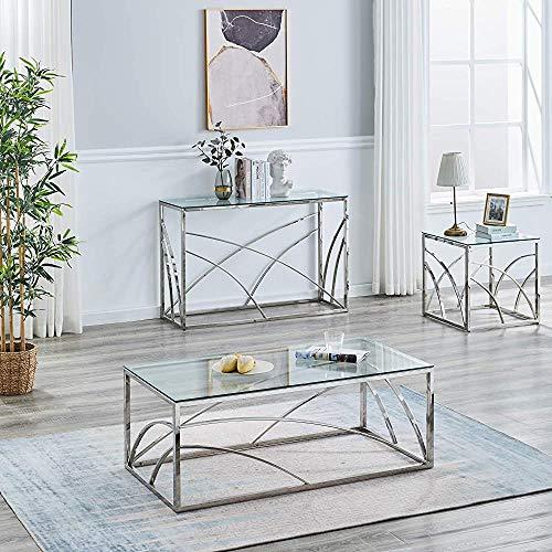 Acero circular salón de cristal mesa de centro mesa de centro de acero, redondo de 50 cm,Silver-Console table B