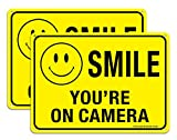 (2 Pack)Faittoo Smile You're On Camera Sign, Reflective 10x7 Rust Free .40 Aluminum, UV Protected, Weather Resistant, Durable Ink, Indoor & Outdoor Use for Home Business CCTV Security Camera