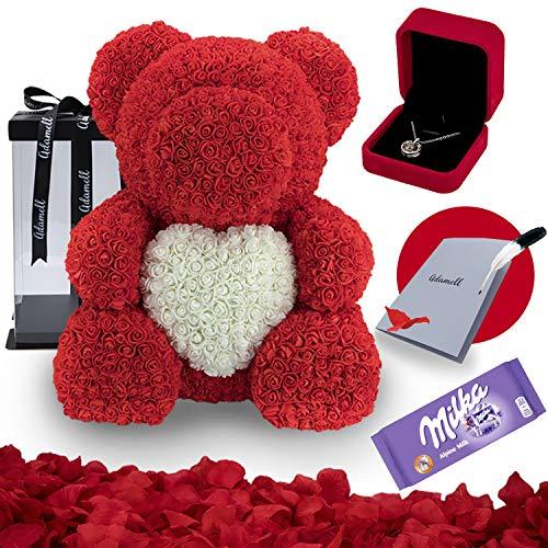 Rosen Teddybär 70cm mit geschenkbox, einzigartiges geschenk für frauen, freundin, kinder - Exklusiver Rosenbär zum Muttertag, Geburstag & Jahrestag - Blumen Teddy Bär mit love Halskette (5 in 1) Rot