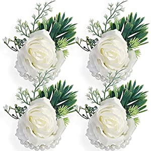 WEIERYUE Artificial Flowers White Rose Wrist Flowers and Men's Corsage Wedding Flowers Ceremony (4pcs White Wrist Corsages)