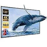 Écran du Projecteur Pliable et Portable PVC 120 pouce 266x149cm 4K HD Diagonal 16:9 Gain: 1.2,Excelvan Écran de Projection avec Trou de Suspension,Qualité Supérieure,pour Usage Domestique et Extérieur