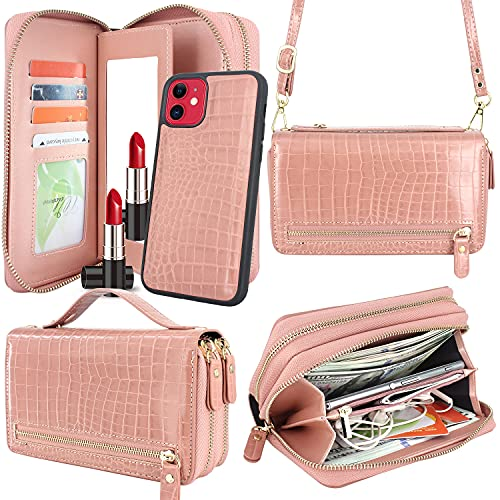 Harryshell Compatible with iPhone 11 6.1 inch 2019 Case Wallet Multi Zipper Detachable Magnetic Cover Clutch Purse Bag with Card Slots Mirror Crossbody Shoulder Chain Lanyard (Crocodile Rose Gold)