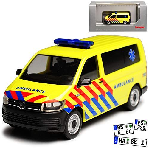 Volkwagen T6 Multivan Personen Transporter Ambulance Notarzt Niederlande T5 Ab 2. Facelift 2015 H0 1/87 Herpa Modell Auto mit individiuellem Wunschkennzeichen