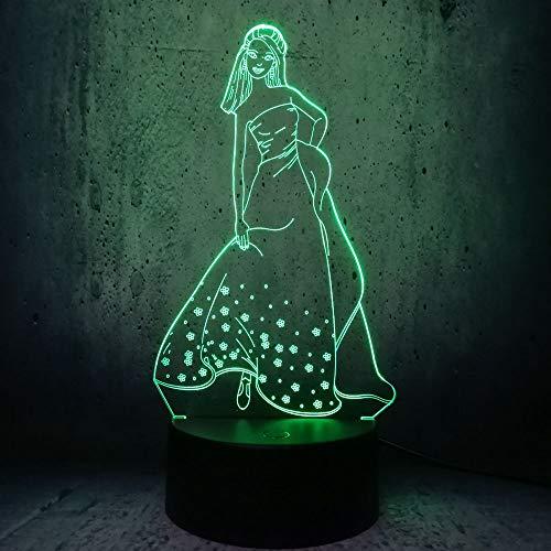 Led-nachtlampje met 7 kleuren wisselend nachtlampje lange rok prinses patroon baby kinderen kinderkamer hal kinderkamer kinderkamer geschenk vakantie