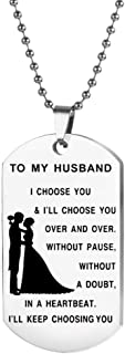 Followmoon Hypoallergenic Stainless Steel Love Words Engraved Dog Tag Keychain Pendent Necklaces Chain Necklaces for Men Women Kids Child Son Daughter Husband Wife Dad Mom Jewelry