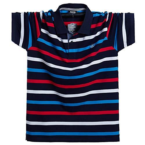 Plus Size Lapel Kurzarm-T-Shirt Plus DüNger Zur ErhöHung des Gestreiften Herren-Polohemdes Mit Halben ÄRmeln