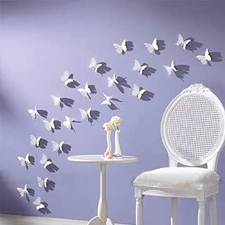 NYKKOLA White 24PCS 3D Butterfly Wall Stickers Decor Art Decorations 3 Size (1, White)