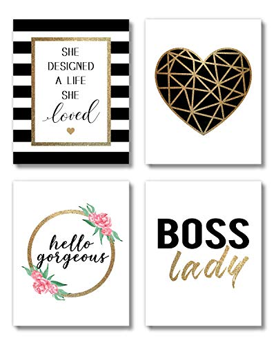 Brooke & Vine Women Office Black and Gold Inspirational Wall Art Prints (UNFRAMED 8 x 10), Motivational Quotes Teen Girl Room Wall Art Posters Bathroom, Bedroom, Dorm or Cubicle (Women Office - Boss Lady)