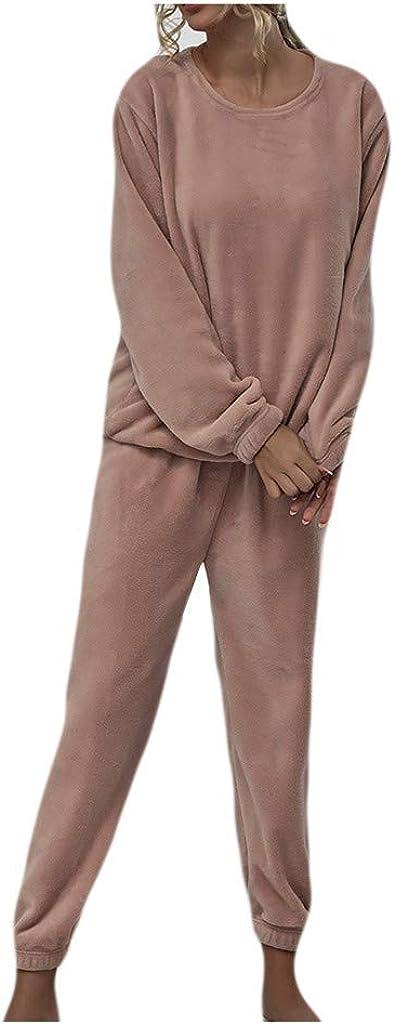 VEKDONE Women Sexy Fuzzy Warm Sherpa Fleece 2 Piece Outfit Pajamas Long Sleeve Fleece Pullover Lounge Wear Tracksuit
