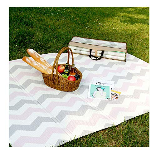 Premium Portable Waterproof Camping Picnic Beach Foam Play Mat for Indoor Outdoor Activity  Folding Portable Playmat for Baby Toddlers Peach Pink