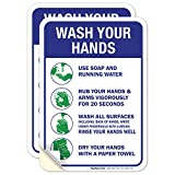 (2 Pack) Hand Washing Sticker Sign, 10x7 Inches, Handwashing Instruction Sign, 4 Mil Vinyl, Self Adhesive Decal Stickers, UV Protected, Made in USA by Sigo Signs