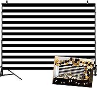 写真の黒と白のストライプの背景のためのZPC誕生日の背景7x5ft誕生日パーティーの結婚式の装飾ビニールの背景