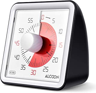 Alcoon 60 Minute Visual Analog Timer 3 Inch Silent Countdown Timer Kitchen Timer Time Management Tool for Classroom or Mee...