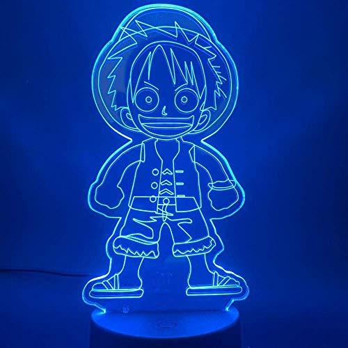 Linterna Mágica 3D Luz De Noche Led Decoración De Dormitorio Anime Japonés Un Mono Lindo D Luffy Lámpara De Mesa Mejor Regalo De Cumpleaños Para Niños
