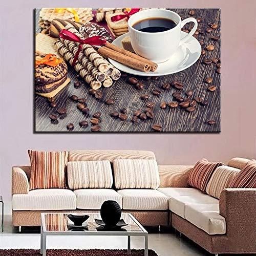 Wandkunst Leinwand Poster Wohnzimmer 1 Stück Kaffeebohne Und Brot Gemälde Blumen Lebensmittel Bilder Küche Wohnkultur Rahmen R4 60x80 CM (Kein rahmen)