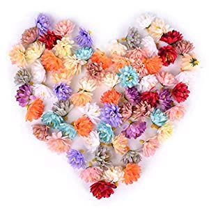 Teensery 50 Pcs Artificial Carnation Flower Heads Bulk Silk Flower for Wedding Decoration Home Decor Party Supplies DIY Crafts, 1.4″ (Mixed Color)