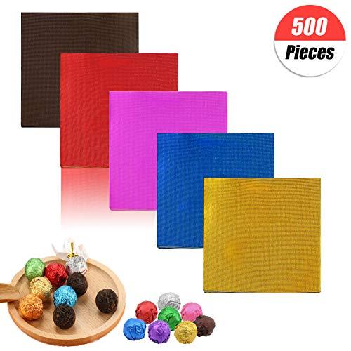 500 pezzi 5 colori cioccolatini caramelle in alluminio imballaggio imballaggio,stagnola quadrata per imballaggio cioccolatin fai da te colorati,cioccolatini fai da te e confezioni di cioccolato