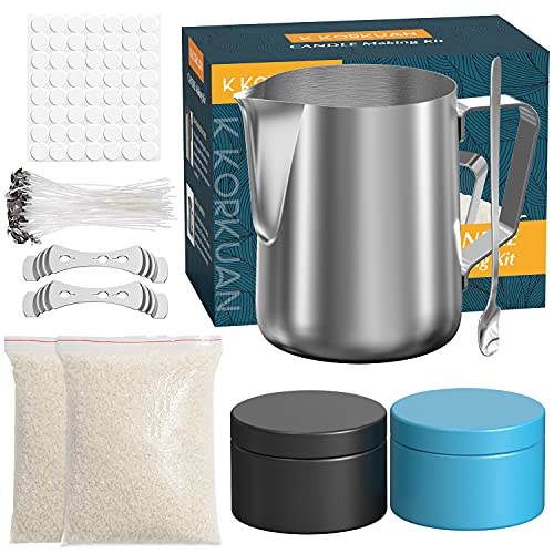 Candle Making Kit Supplies, Beeswax DIY Candle Craft Tools Including Candle Make Pouring Pot, Candle Tins Candle Wicks, Wicks Sticker, 3-Hole Candle Wicks Holder, Natural Soy Wax and Spoon