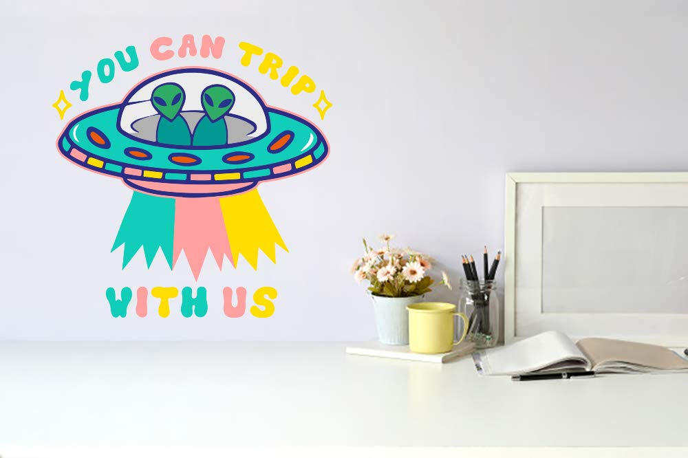 You Can Trip With Us UFO Alien Mura Car Vinyl Store Space Wall Sticker New Free Shipping