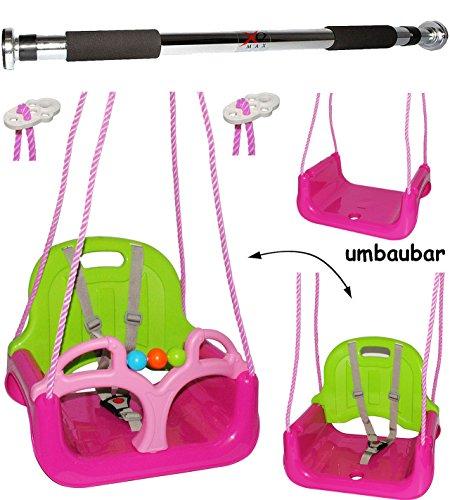 alles-meine.de GmbH 2 TLG. Set _ Türreck + mitwachsende - Babyschaukel / Gitterschaukel mit Gurt -  ROSA / PINK  - Leichter Einstieg ! - mitwachsend & verstellbar - 100 kg bela..