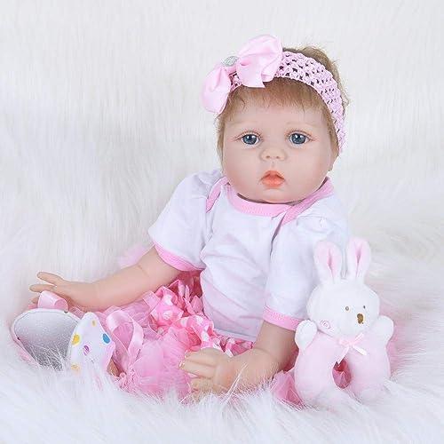 Hongge Reborn Baby Doll,Lebensechte Weißhe Gel Reborn Puppe Spielzeug Neugeborene Puppe Spielzeug Weißnachten Geburtstag 55cm
