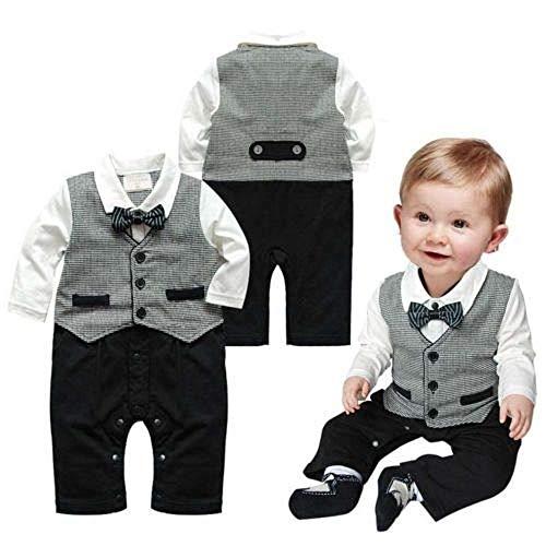 puseky Neugeborenes Baby Jungen Herren Anzug Fliege Strampler Overall Outfits Kleidung (0-6 Monate)
