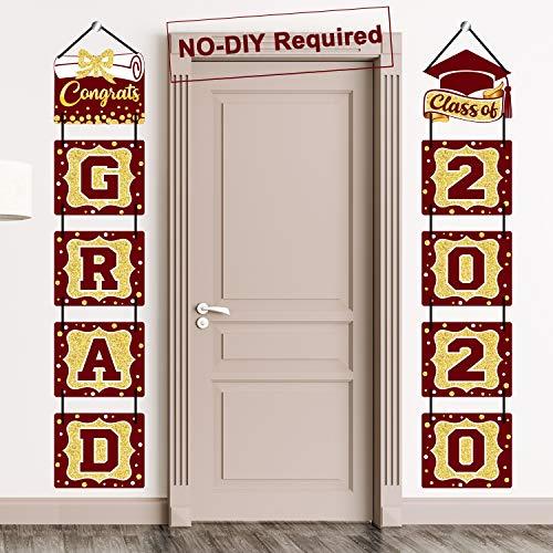 2020 Graduation Banner Maroon Graduation Party Decoration Porch Sign Grad Party Supplies, Class of 2020 Congrats Grad for College, High School (Maroon)