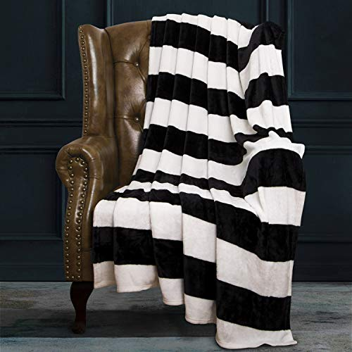 NTBAY Flannel Full/Queen Blanket, Super Soft with Black and White Striped Printed Bed Blanket, 90 x 90 Inches