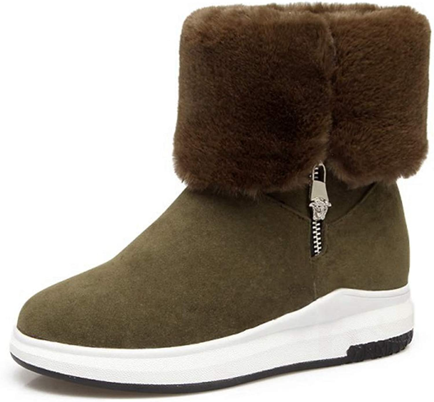 CYBLING Winter Mid Calf Boots for Women Fashion Waterproof Wedge Heel Warm Snow Boots Ankle Boots