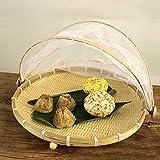 Cubierta de bambú tejida a mano, a prueba de polvo, cesta con malla para servir alimentos para vegetales plegable tienda redonda para camping barbacoas 40 x 25 cm (L)