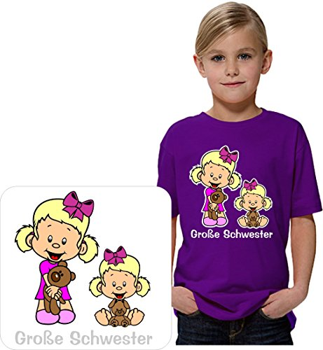 Sehr schönes Geschwister T-Shirt für die große Schwester mit schönen Kindermotiven. THDesign®